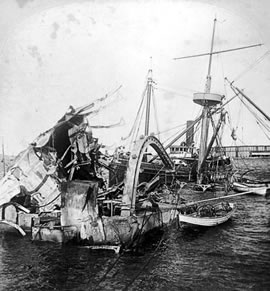 an investigation into the sinking of uss maine On the night of february 15, 1898, the uss maine exploded and sank in the  of  cuba led many to believe that spain was behind the sinking of the maine while  multiple investigations have been unable to definitively identify.